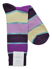 Lorenzo Uomo Bahia Rugby Stripe Cotton Italian Dress Socks
