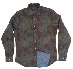& Sons Garment Co. Chambray Painted Leaves Soft Cotton Shirt