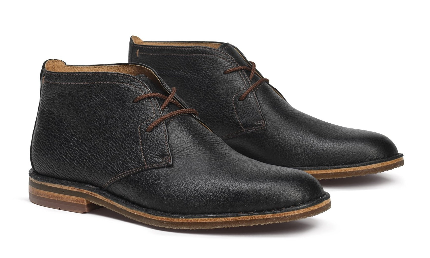 Trask Brady Black Norwegian Elk Leather Chukka Boots