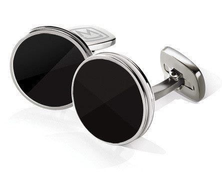 M-Clip Black Enamel Bordered Round Cufflinks