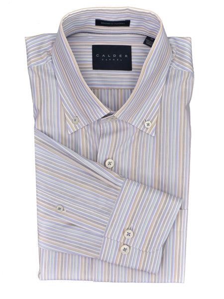Calder Carmel Super Fine Italian Milled Melange Multi Stripe Cotton Shirt