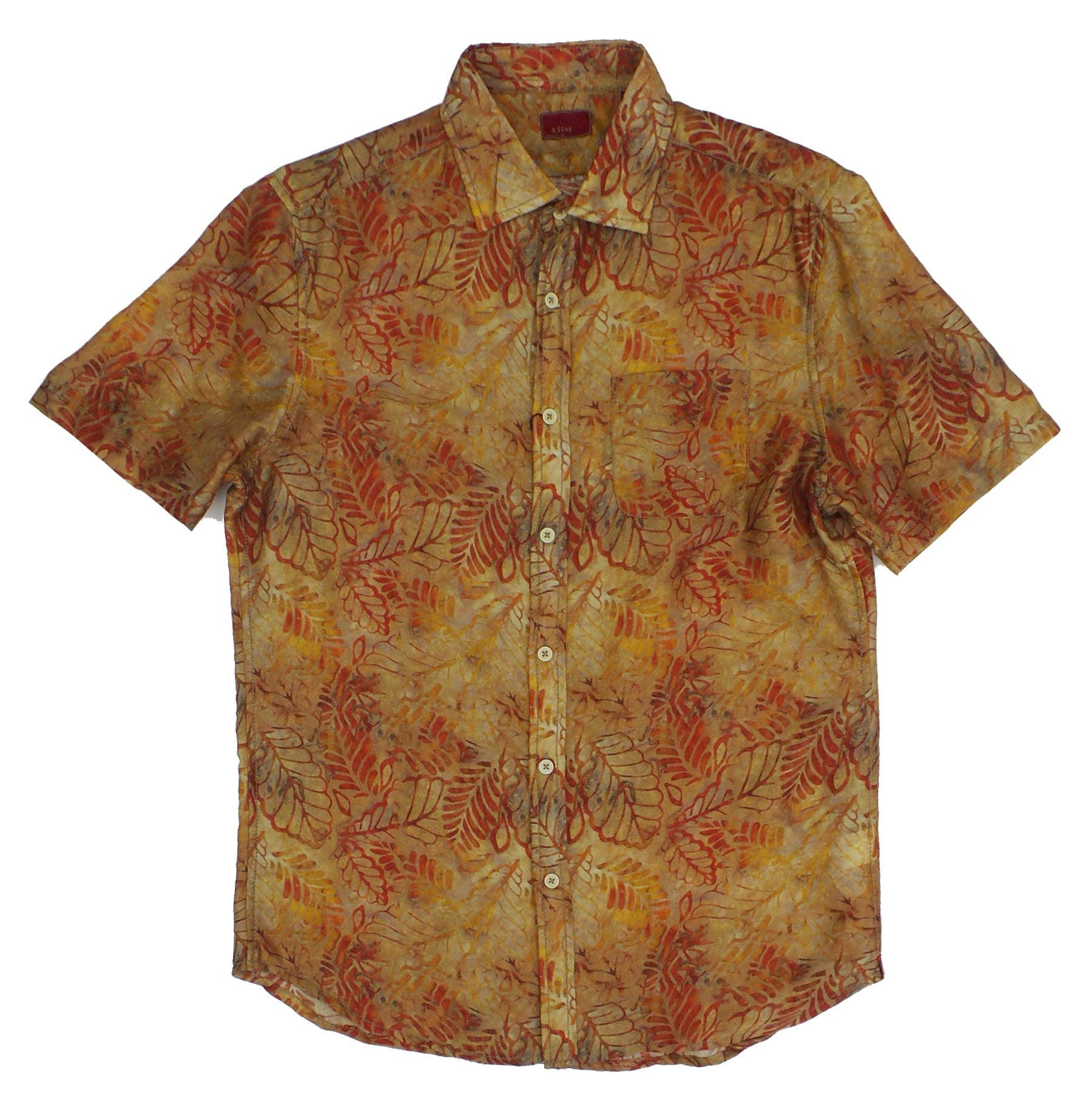 & Sons Garment Co. Voile Painted Leaves Lightweight Soft Cotton Shirt