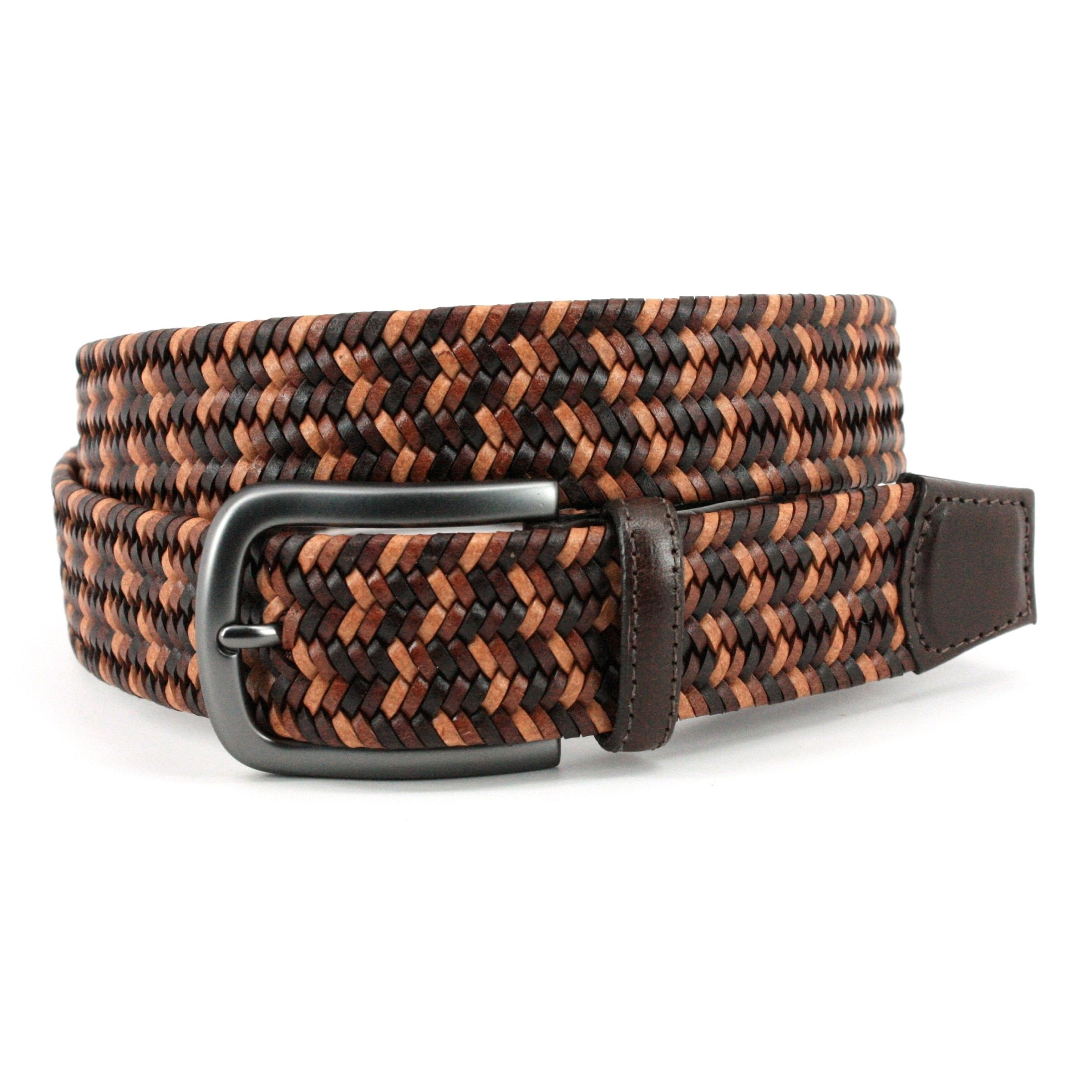 Torino Italian Mini Strand Woven Stretch Leather Belt