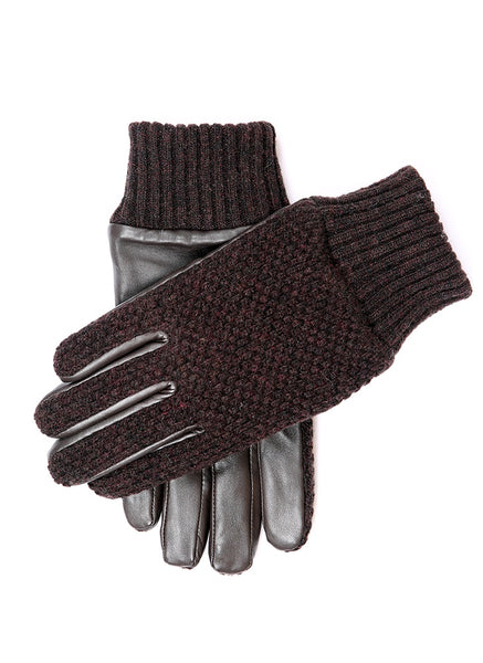 Navy Dents Mens Plain Knitted Gloves