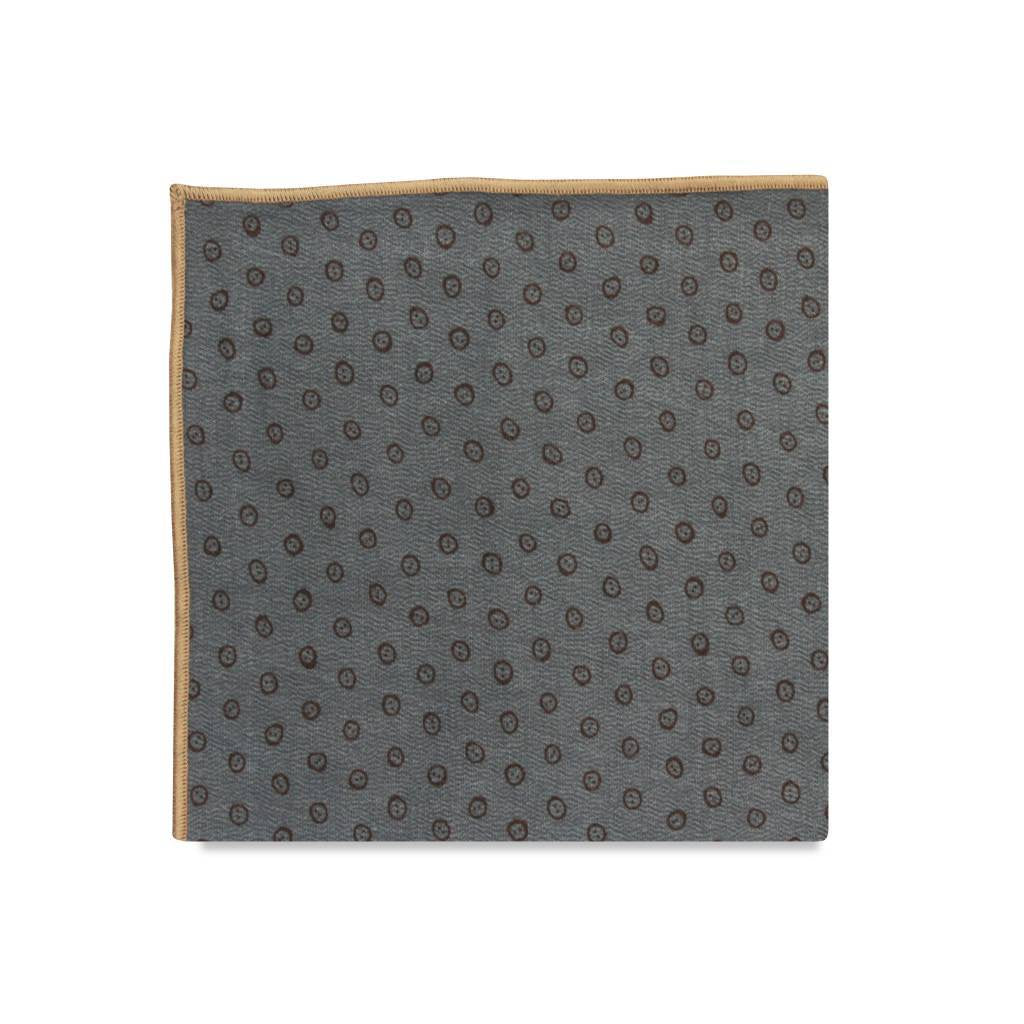 PSC Rowan Slate Blue Geometric Print Pocket Square