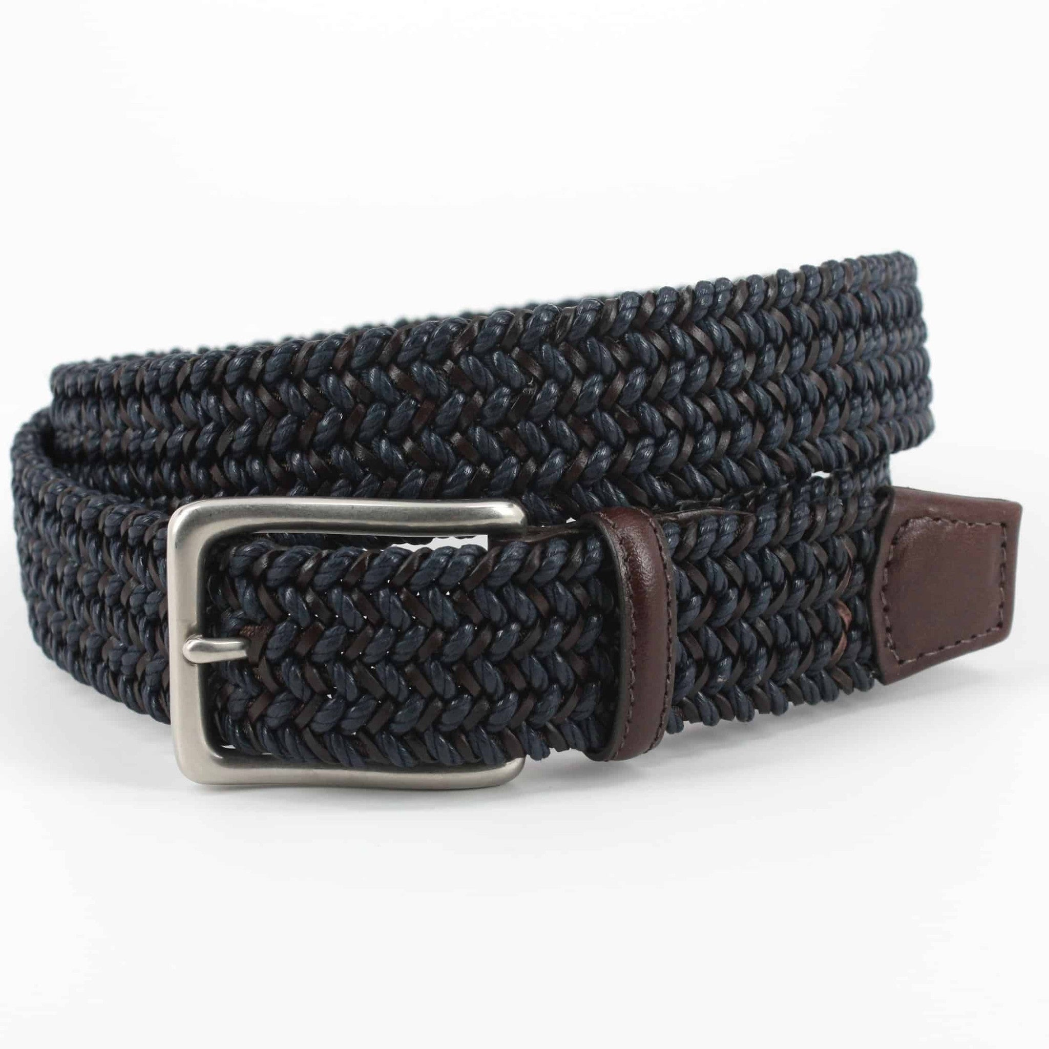 Torino Italian Woven Cotton And Leather Belt