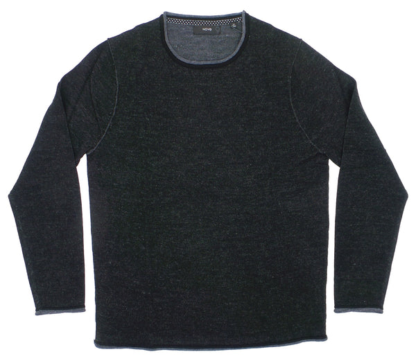 Nove 9 Plaited Crew Neck Textured Merino Wool Blend Sweater