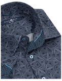 Stone Rose Abstract Line Print LS Woven Stretch Shirt