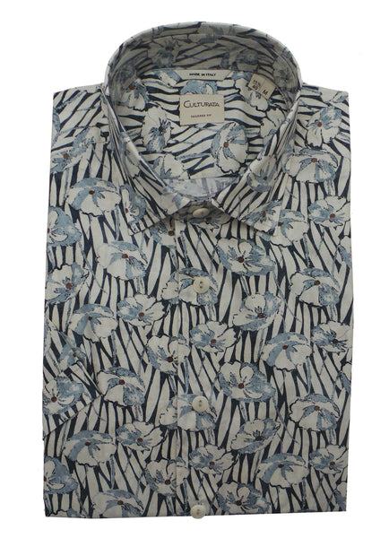 Culturata Abstract Print Lightweight Short Sleeve Shirt
