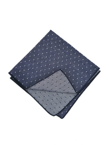 BKLYN Made in NY Indigo Dot Pattern Cotton Pocket Square