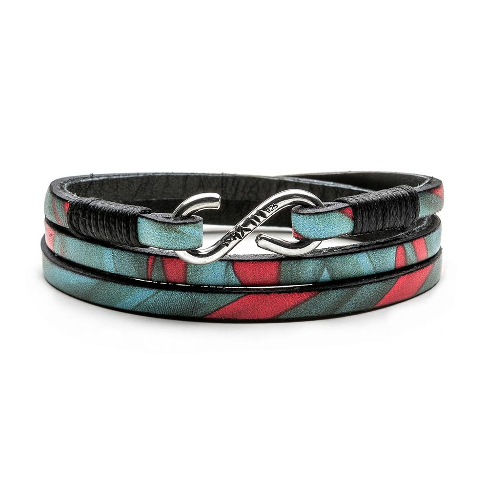 Kenton Michael Abstract Series Leather Triple Wrap Bracelet w Solid Sterling Clasp