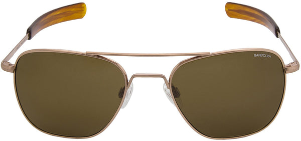 Randolph Engineering Aviator Rose 23K Gold Satin Amber Polarized Glass Lens Sunglasses