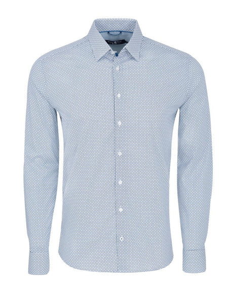 Stone Rose Soft Stretch Woven Cotton Geometric Print Shirt