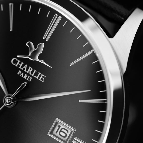 Charlie Paris Bastille Black Miyota Quartz Steel Band Watch
