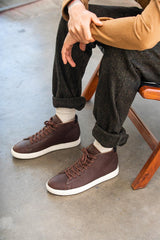 CLAE Bradley Mid Cocoa Oiled Tumbled Leather Sneakers