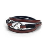 Kenton Michael Handcrafted Leather Triple Wrap Bracelet with Sterling Clasp