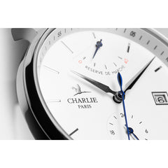 Charlie Paris Initial Power Reserve White Miyota 9132 Automatic Watch