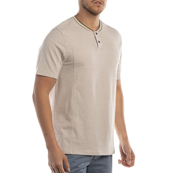 Jeremiah Kano Heather Slub Cotton Blend Short Sleeve Snap Button Henley