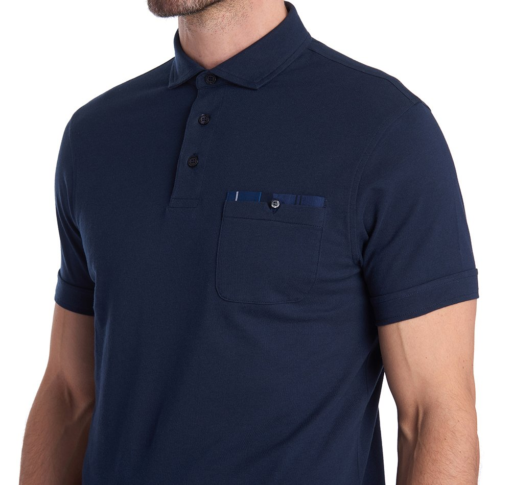 Barbour Corpatch Jersey Cotton Tartan Trim Polo