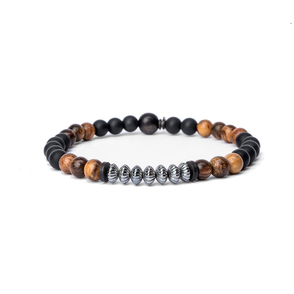 Kenton Michael Onyx and Wood Bead Stack Bracelet