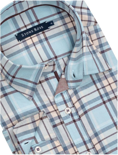 Stone Rose Modern Plaid Lightweight Soft Stretch LS Shirt