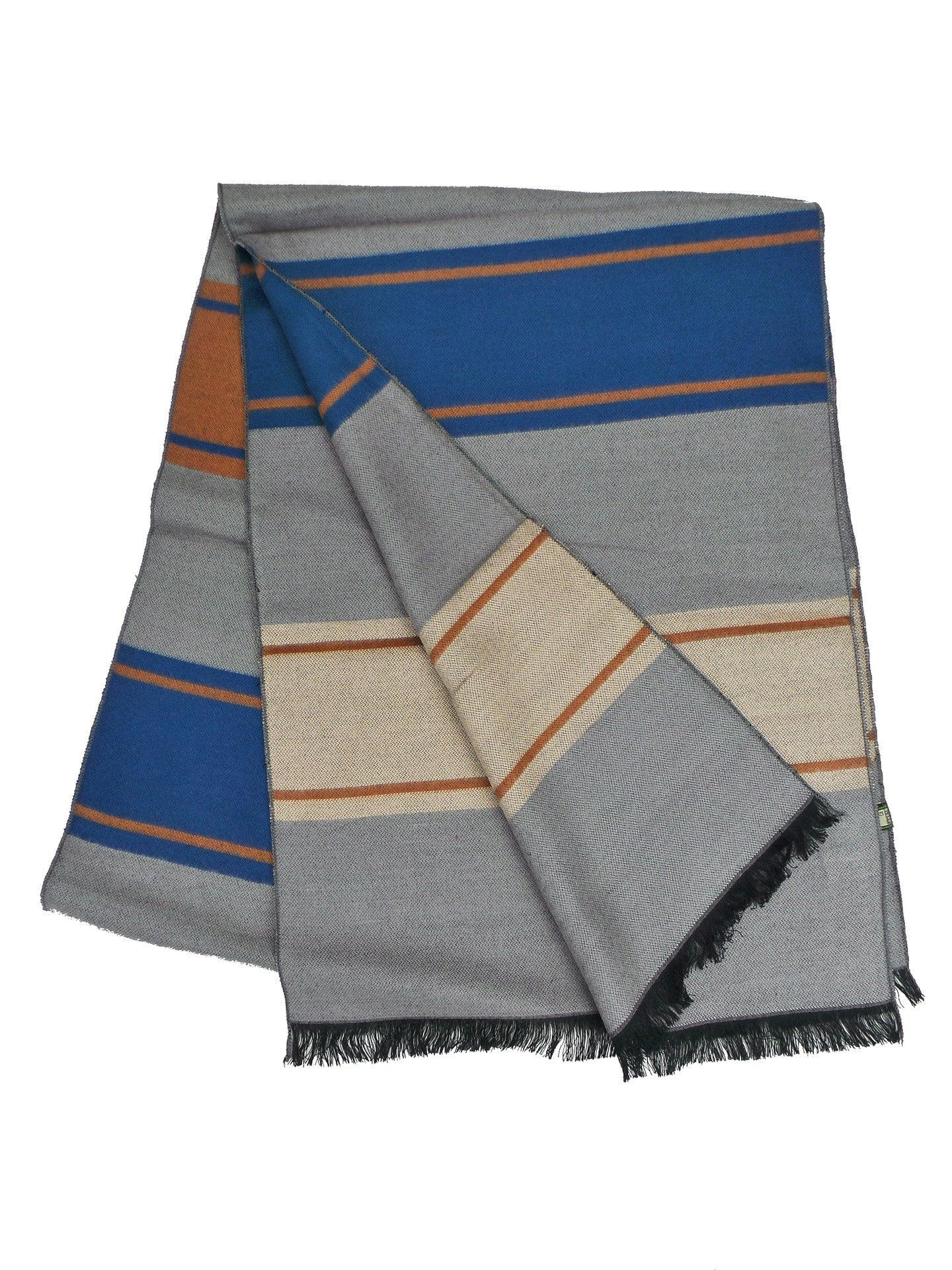 COOL Bamboo Rayon Blend Grey and Blue Striped Scarf