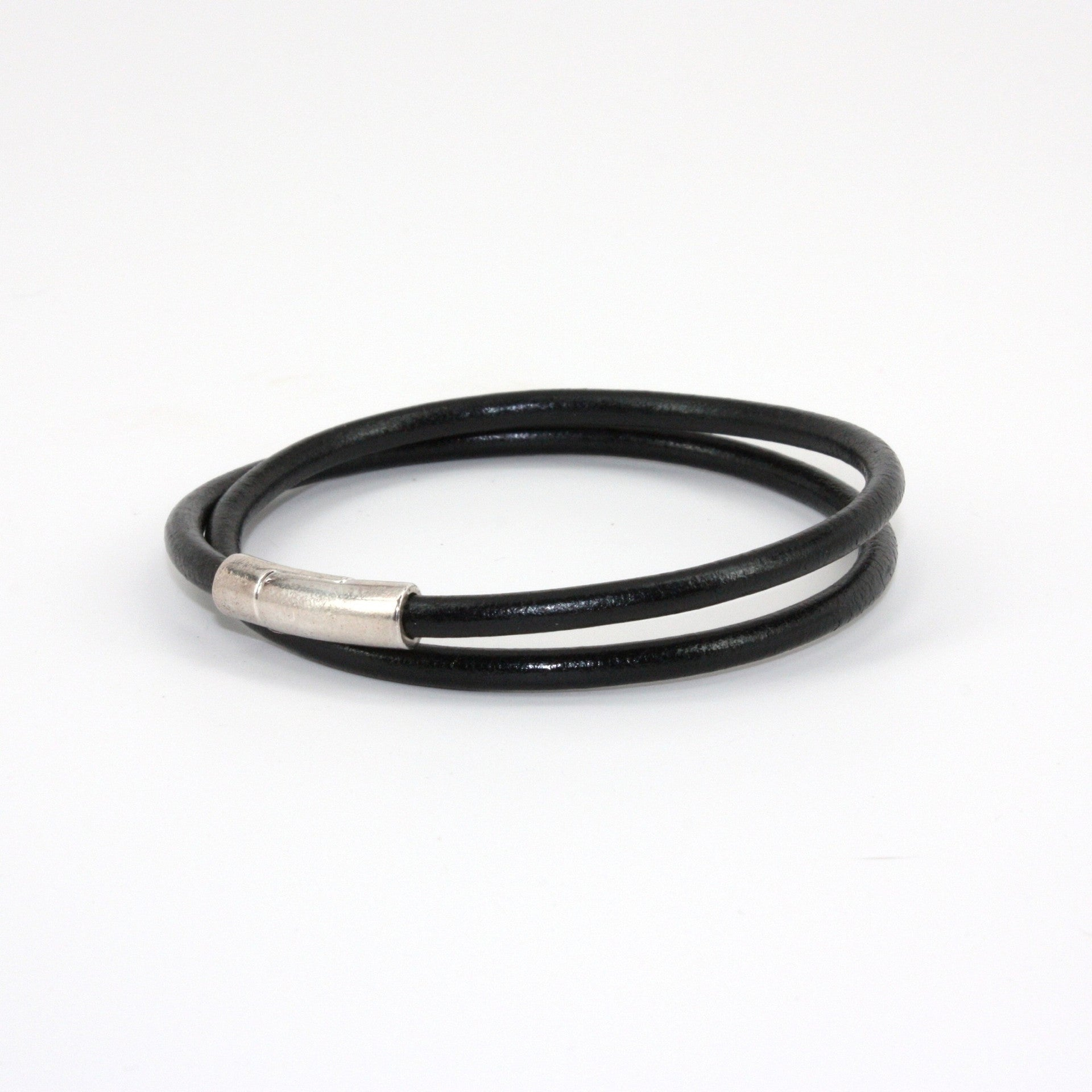 Torino Orbit Leather Tube Double Wrap Bracelet
