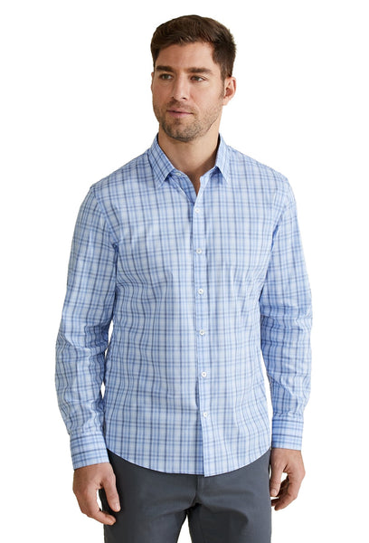 Zachary Prell Holmes Chambray Weave Plaid Pattern Shirt