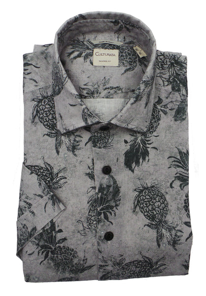 Culturata Soft Washed Pineapple Print Linen SS Shirt