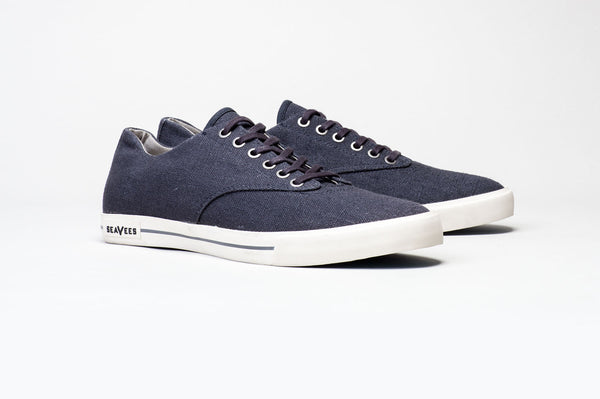 SeaVees Vintage Wash Linen Hermosa Plimsoll Navy Shoes