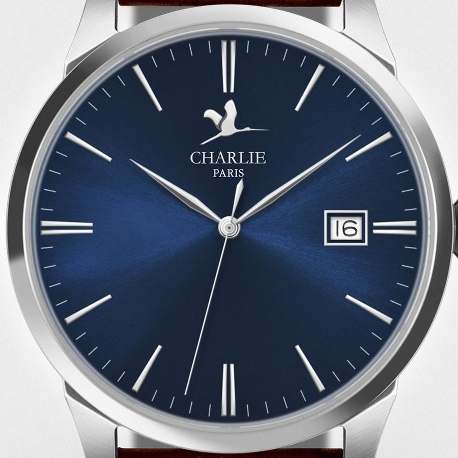 Charlie Paris Bastille Navy Miyota Quartz Steel Band Watch