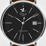 Charlie Paris Initial Black Miyota 9015 Automatic Watch