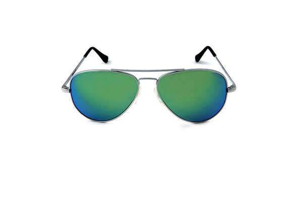 Randolph Engineering Concord Matte Chrome Skull Green Flash Mirror Sunglasses