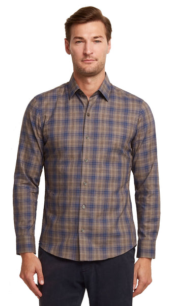 Zachary Prell Compton Intricate Plaid Soft Woven Shirt
