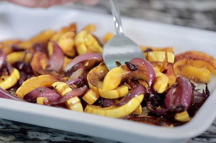 Oven Roasted Delicata Squash with Cranberries & Thyme