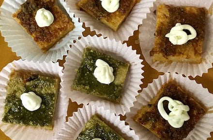 Polenta squares topped with pesto or tapenade