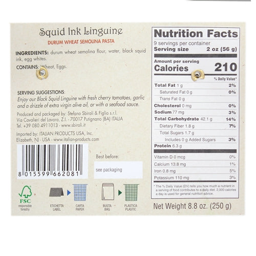 Sbiroli Squid Ink Linguine - 8.8oz.