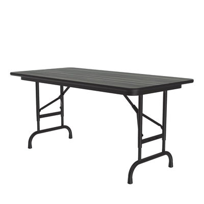 Commercial High-Pressure Folding Tables, Adjustable Height — Wood Grain Tops
