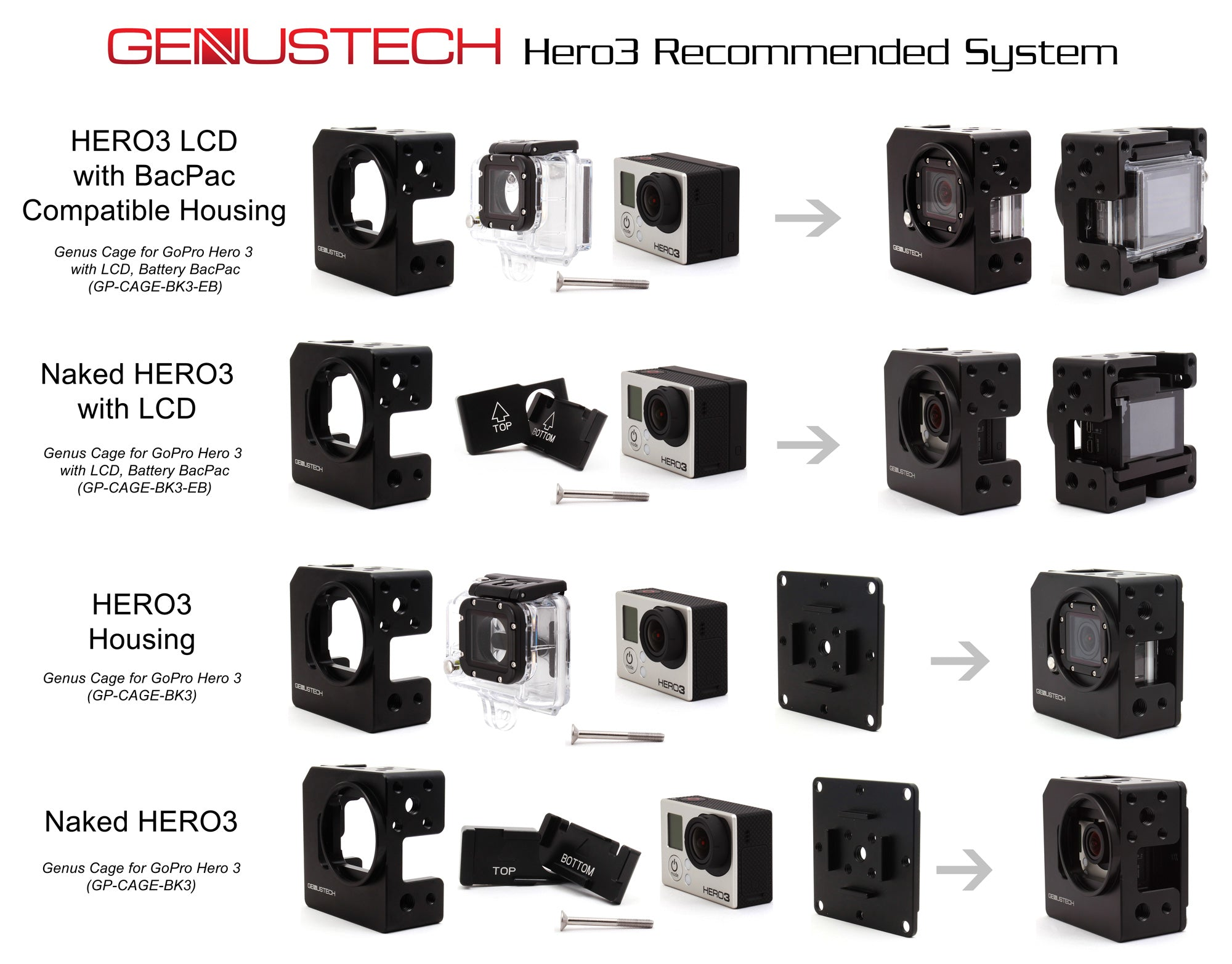 gopro camera accessories and mounts genustech. Black Bedroom Furniture Sets. Home Design Ideas