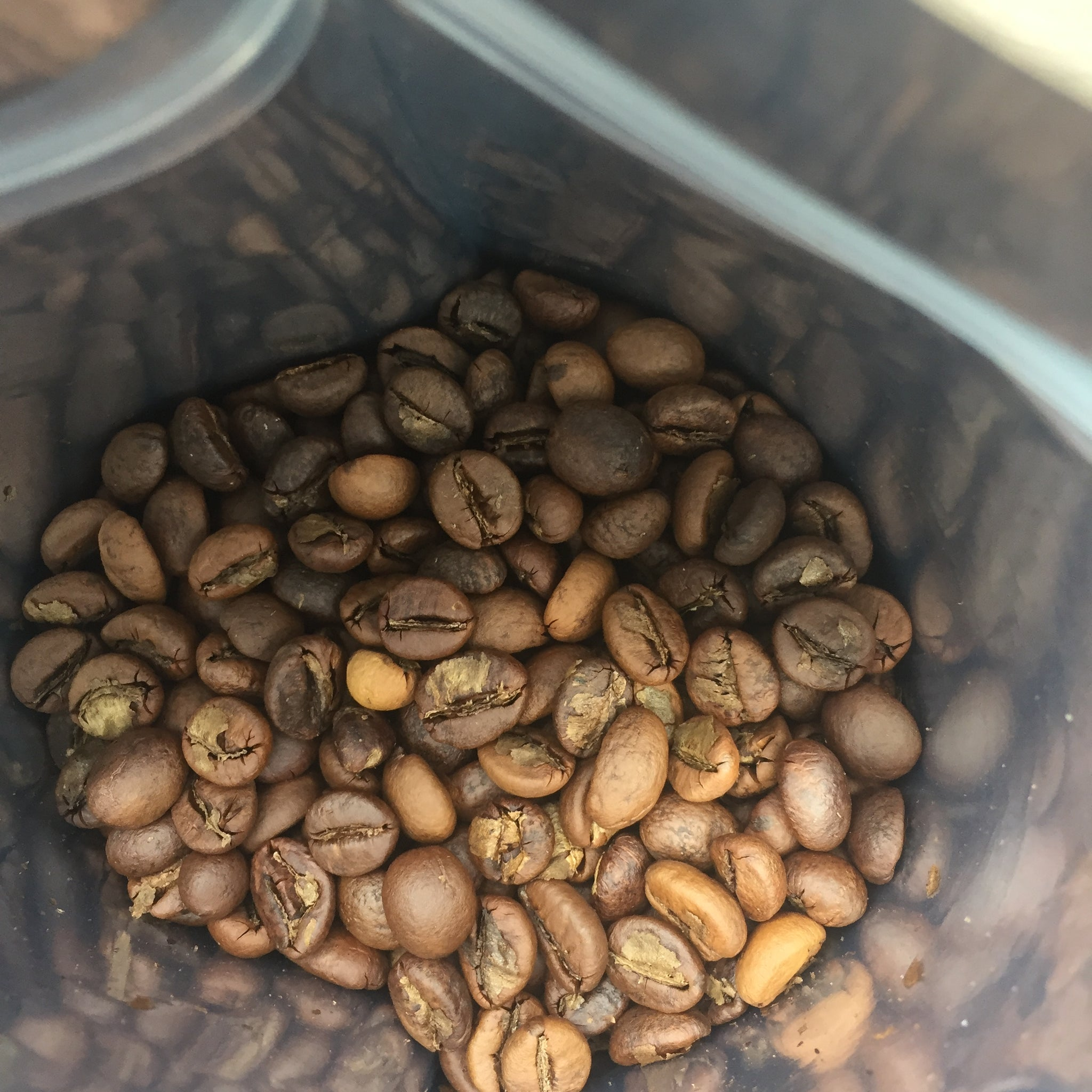 Roasted beans colour of frowners and air roasting
