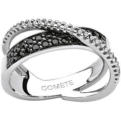 Anello COMETE ANB1397 Intrecci diamanti black and white
