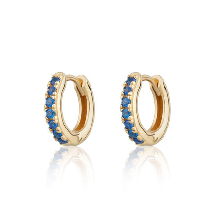Huggie hoop earrings - gold with blue stones