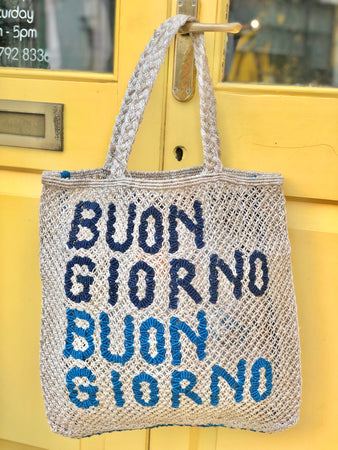 Buon Giorno- Natural with cobalt & navy