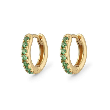 Gold Hoop Earrings with Green Stones