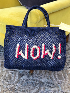 Wow in navy with natural and raspberry writing