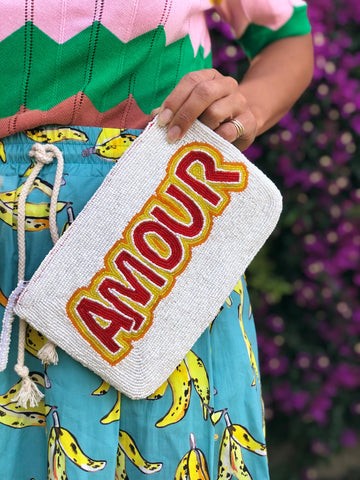 Hand beaded AMOUR bag