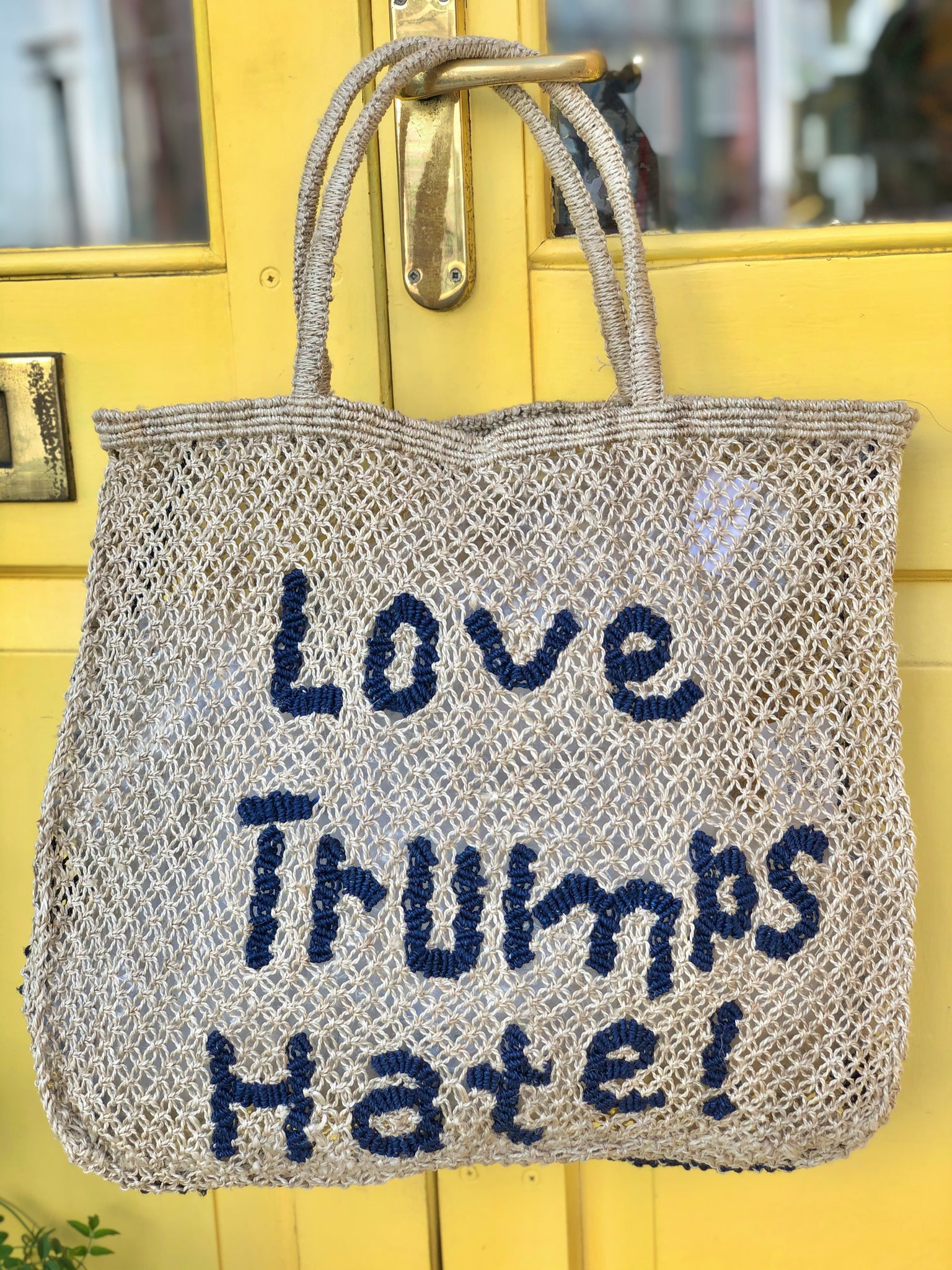 Love Trumps H ate- Natural with navy