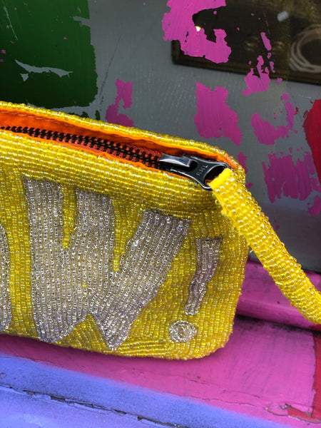 WOW Hand beaded yellow bag