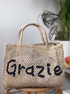 Grazie natural with indigo writing