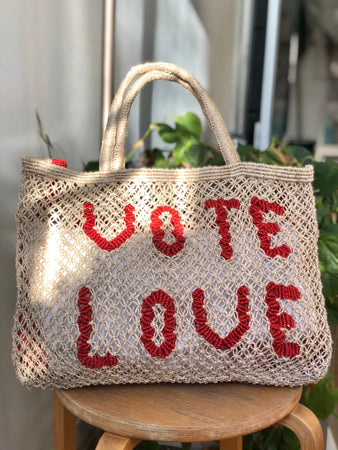 Vote Love- Natural with Red